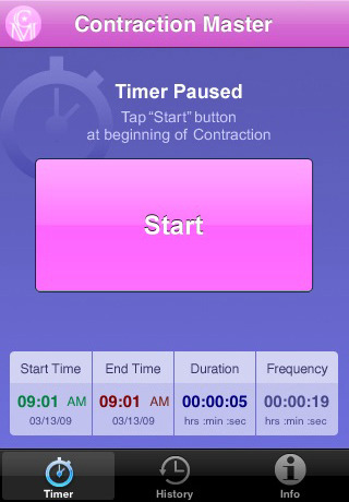 Handy iphone app for timing contractions