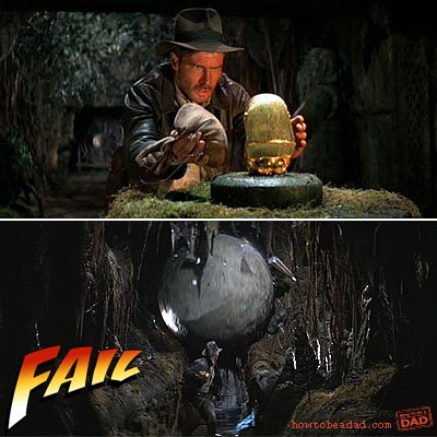 FAIL Indiana Jones swap golden idol Raiders
