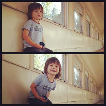 Finn sitting on a train