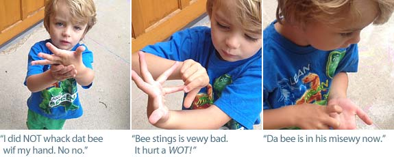 toddler bee sting collage