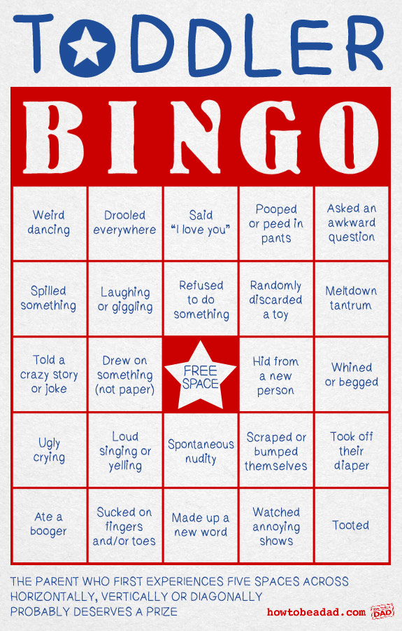 Toddler Bingo Game for parents who need to win something