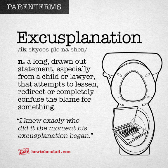 Funny Parenting Word Excusplanation
