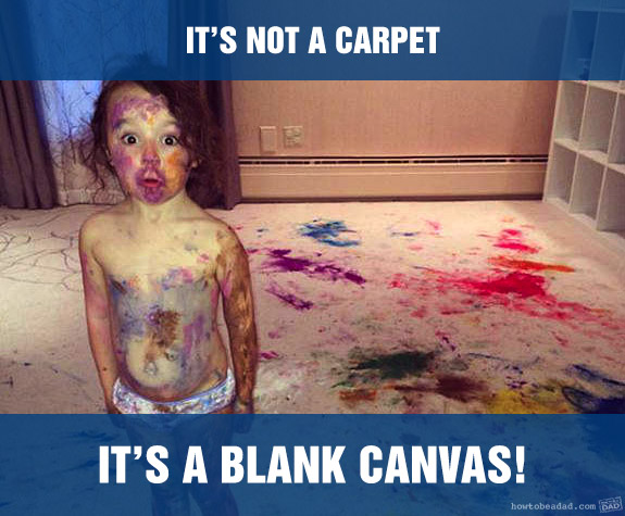 Funny Kid Mess-uses Blank Canvas Carpet