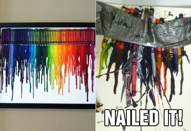 nailed it fail crayon melt art
