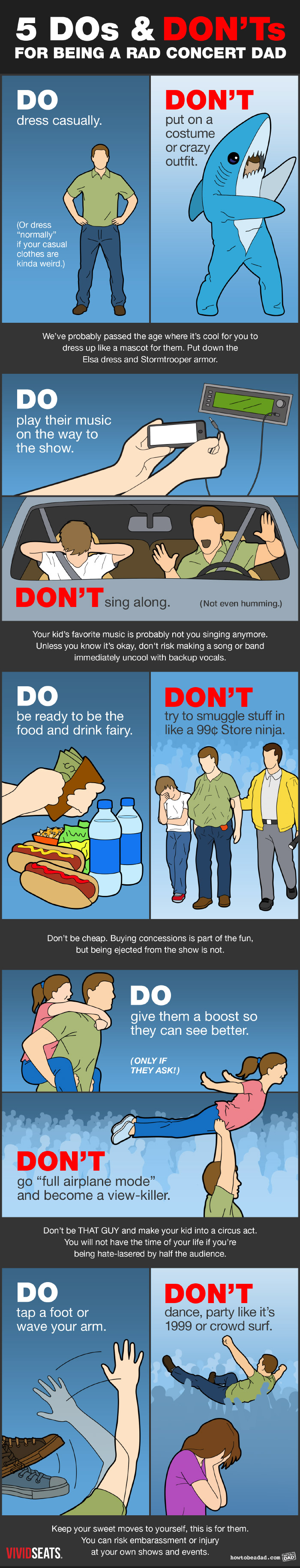 Dos and Don'ts for Being a Rad Concert Dad Funny Tips and Warnings