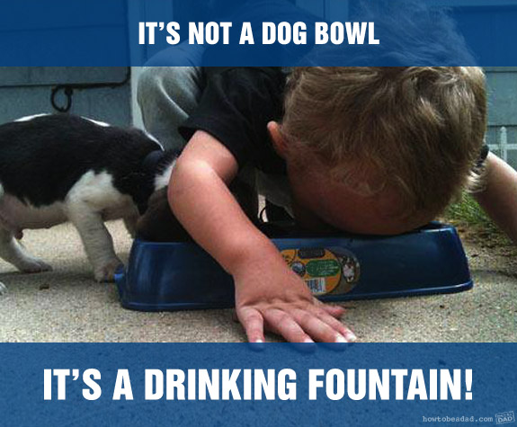 Funny Kid Mess-uses drinking fountain