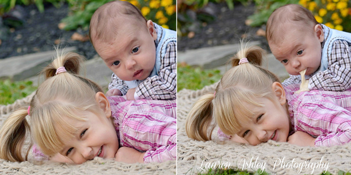 baby photoshoot fail puking on older sister