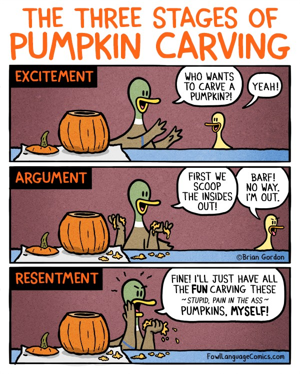 three-stages-of-pumpkin-carving