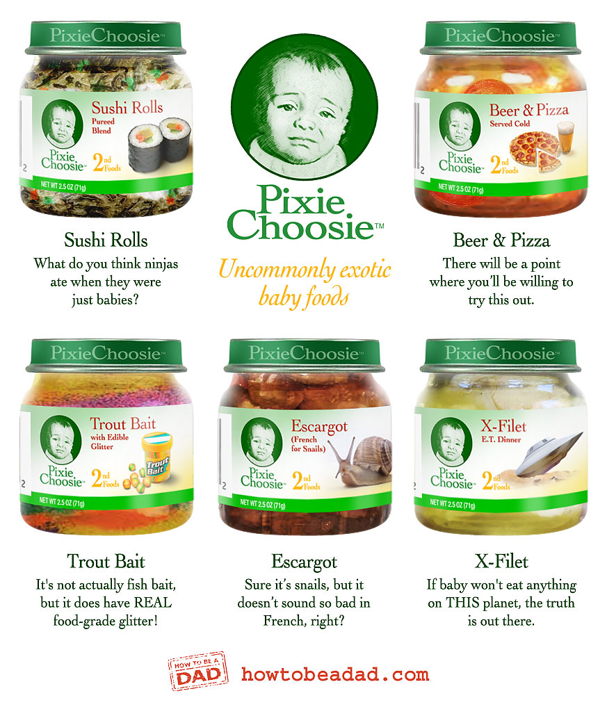 Pixie Choosie Exotic Baby Foods funny bad baby product