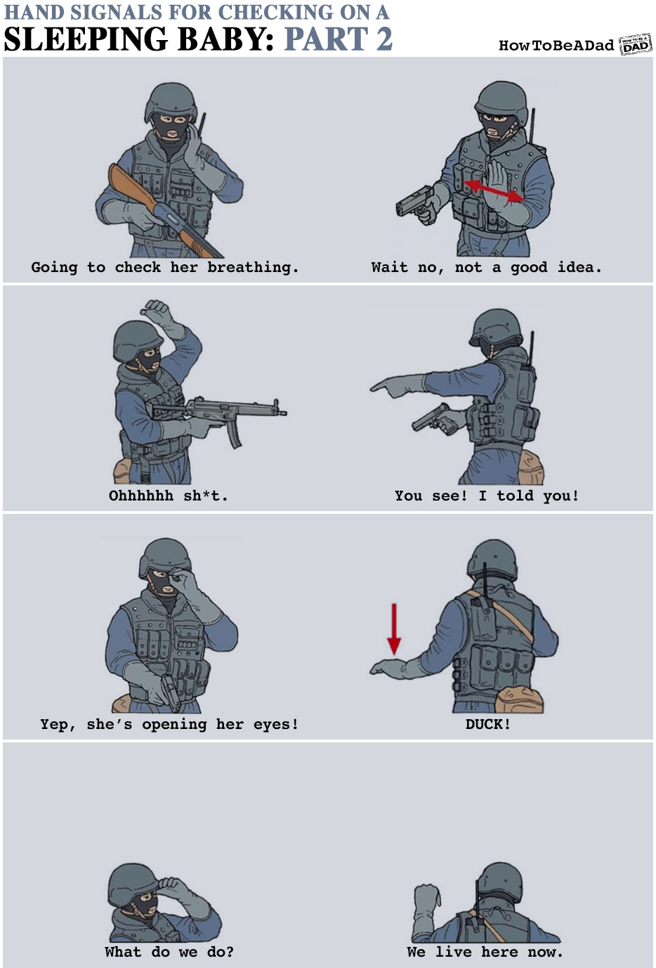 Military Hand Signals for Checking on a Sleeping Baby Funny Parenting Part 2