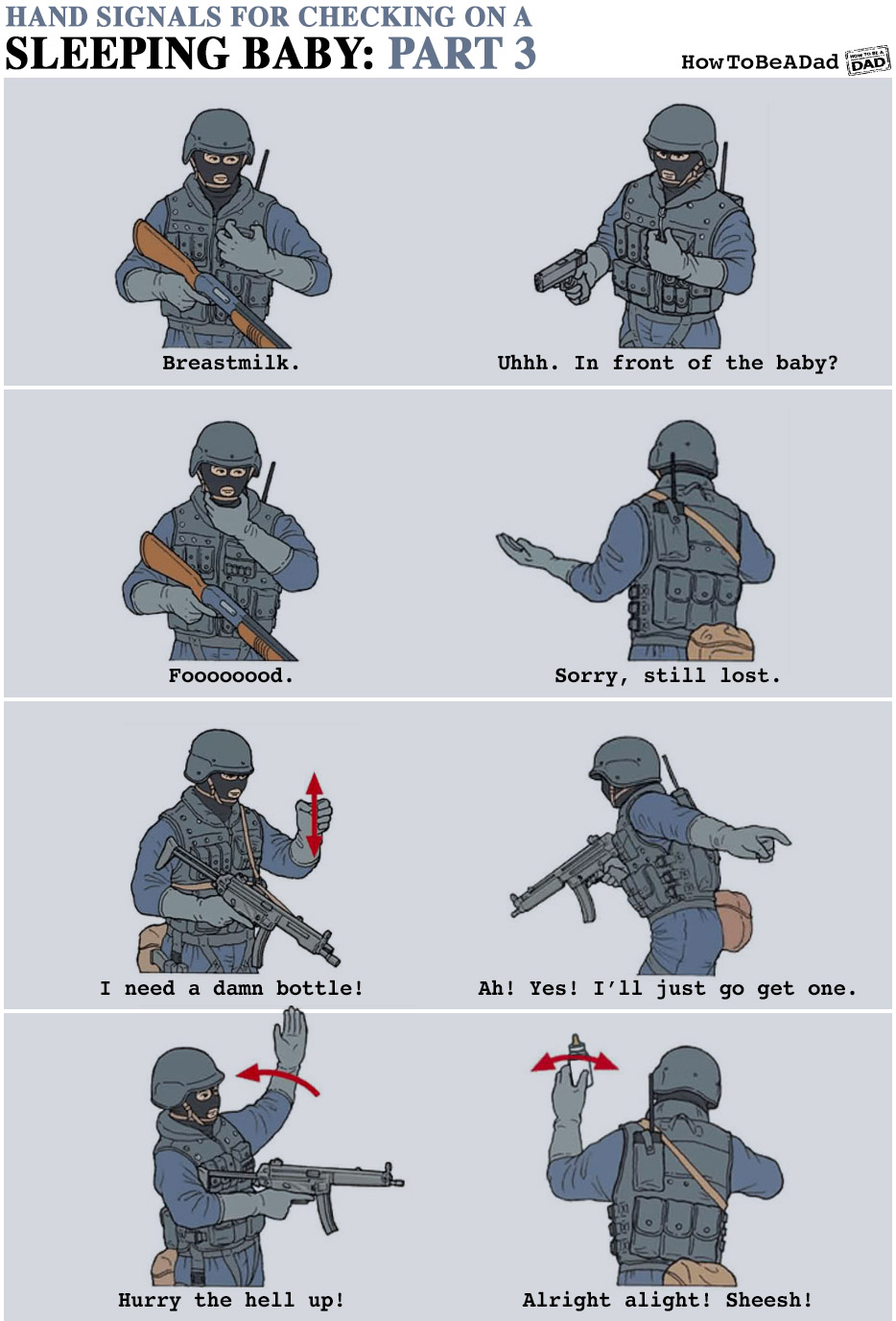 Military Hand Signals for Checking on a Sleeping Baby Funny Parenting Part 3