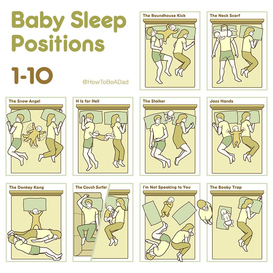 Funny Boob Cartoons baby sleep positions (1-10)